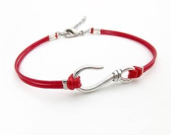 Silver Hook Bracelet, Dark Red Cord Bracelet,  Hook Jewelry, Waxed Cord Bracelet, Fish Hook Bracelet, Nautical Bracelet