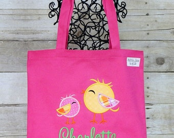 Girls Birdie Applique Cotton Canvas Tote Bag,Personalized Free for Kids, Library Tote, Car Bag or Diaper Bag, School Bag Toys Bag,BeachTote