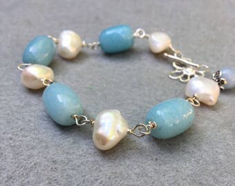 Aquamarine and Pearl Bracelet Sterling Silver  Bohemian Bracelet Wire Wrapped Gemstone Statement jewelry