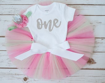 Pink and mint girls first birthday outfit 'Cupcake' First birthday outfit girl, cupcake tutu outfit, birthday tutu outfit, birthday girl one