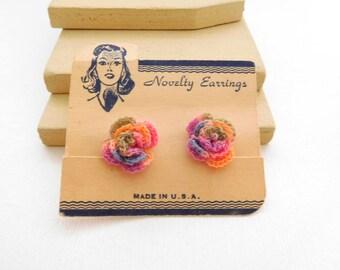 Vintage Rainbow Crochet Rose Flower Shabby Chic Style Screw Back Earrings YY1