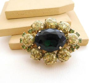 Vintage Green Rhinestone Gold Confetti Lucite Tiered Flower Brooch Pin YY41
