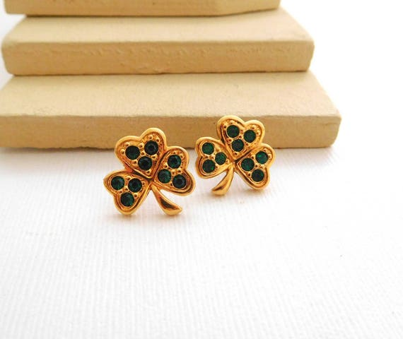 Vintage Avon Green Rhinestone Gold Clover St. Patrick's Day Earrings ZZ18