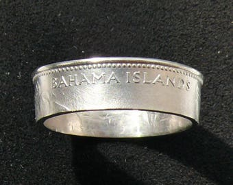 Ladies The Bahamas 5 Cents Coin Ring, Ring Size 6 and Double Sided