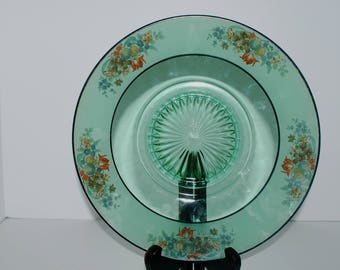 Green depression glass plate  painted  border  vintage green glass