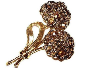 "Hollycraft Flower Brooch Signed Aurum Swarovski Rhinestones Gold Metal 2.5"" Vintage"