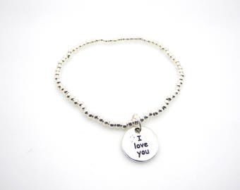 Silver Beaded Bracelet I Love You Charm/Medium Size Stacking Stretch Bangle/Bridesmaids/Sister/Friend Gift//LR050B