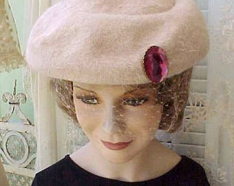 Darling Vintage 1950's Hat with Large Faceted Cranberry Colored Jewel