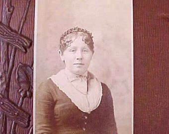 Victorian Sepia Photograph of Young Woman with Interesting Head Band