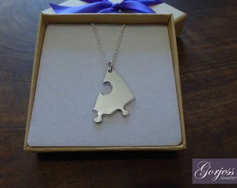 Silver Jigsaw Piece Necklace - Handmade Puzzle Pendant - Autism Necklace