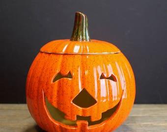 Vintage Ceramic Pumpkin  // Votive Candle Ceramic Pumpkin // Fall Decor // Autumn Decor // Halloween Decor