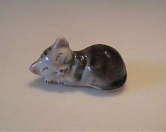 Vintage 1950's ceramic miniature sleeping brown tabby kitten