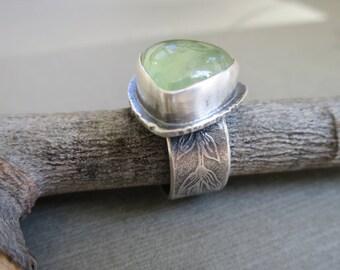 Prehnite Ring, Statement Ring, Handmade Ring, Green Prehnite Ring, Size 7 Ring