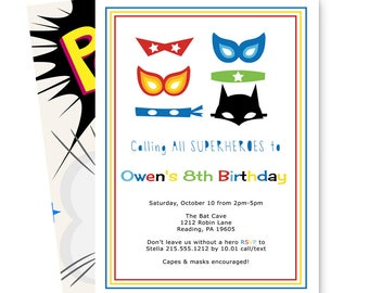 Super Hero Party Invitations -- Caped Crusader -- Boys Birthday -- Baby Shower -- Halloween Invite -- Printable Template or Printing Service