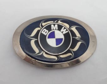 1980s Vintage BMW Automobile Enamel and Metal Belt Buckle, Made in USA - Sports Car, BMW, Bimmer, Bavarian Motor Works, Germany
