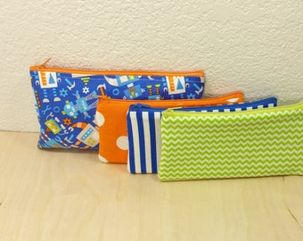 Kids Cash Envelope Wallet, Kids Cash Budget System, Give, Save, Spend -Robots on Blue- for use with the Dave Ramsey System, READY to SHIP