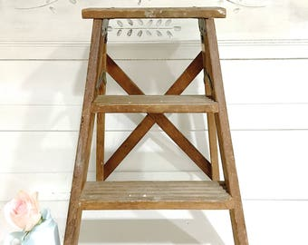 Vintage Wood Step Ladder Rustic Farmhouse Ladder