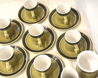 17-pc Set 1970s Mikasa Terra Stone Erin Pattern 7 Cups-7 Saucers-Creamer-Sugar Bowl w/ Lid 7404 Avocado Green