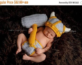 SUMMER SALE Viking Hat, Diaper & Hammer Outfit - 2 Toned Colors - Light Grey Gold - Newborn Baby Beanie Boy Girl Winter Christmas  Photo Pro