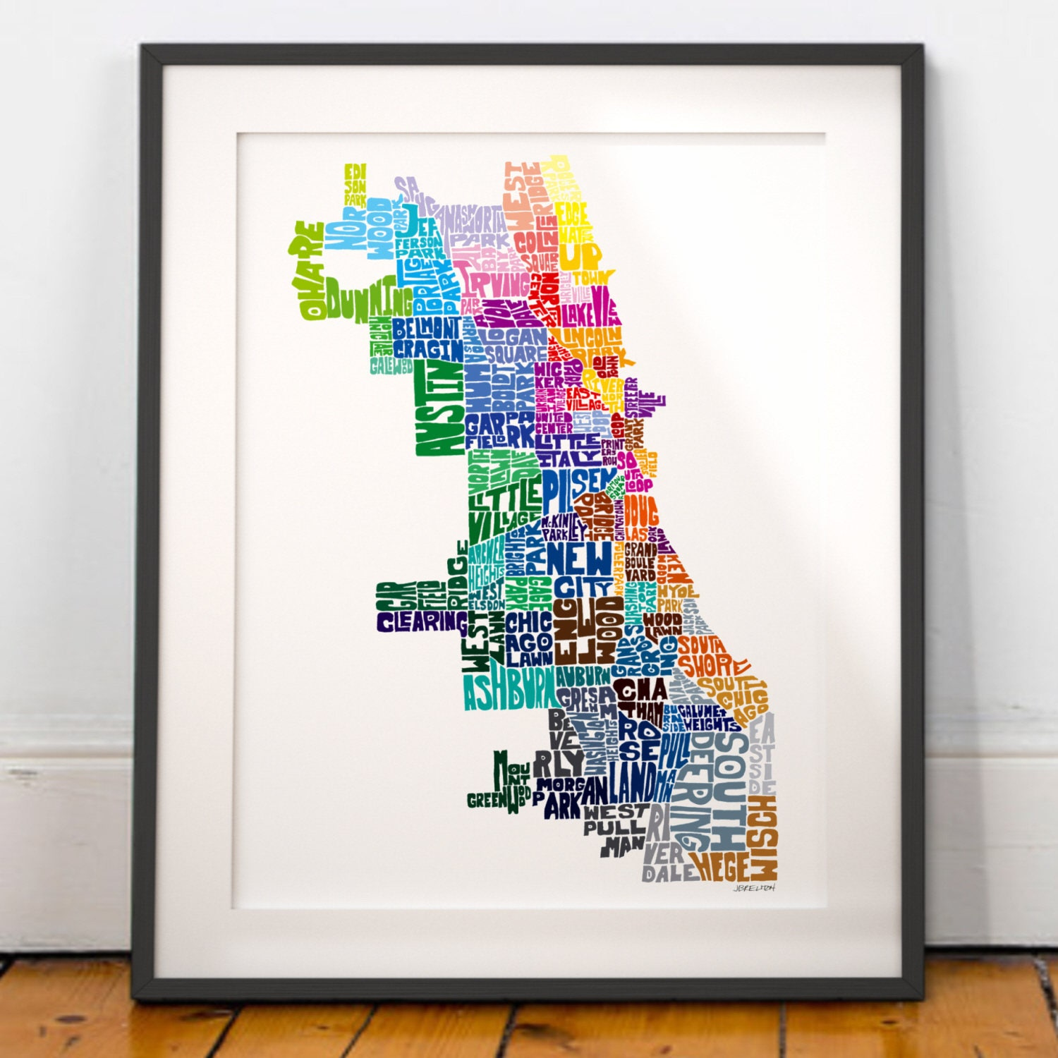 Chicago Poster Etsy - Chicago map etsy