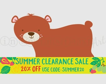 Bear Vinyl Wall Decal for a Woodland or Forest Friends Nursery, Kids, Childrens Room 525