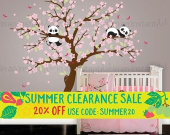 Cherry Blossom Wall Decal Playful Pandas in Cherry Blossom Tree | Panda Bear Nursery and Children's Room | Interior Design 094