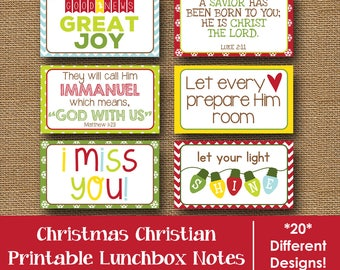 Christmas Lunch Box Notes | December Lunch Box Cards | Christian, Scripture Lunchbox Notes | Kids Printable Lunch Notes | DIY PRINTABLE