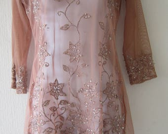 Sheer Pink top with floral Silver thread Decoration
