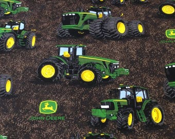 Tractor John Deere Fabric, plowing, planting, farming,  by the yard