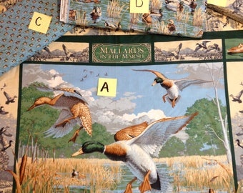 Duck Mallard duck fabric panel, Wildlife quilt pillow panel, blue green beige, coordinate fabrics pictured and available for purchase