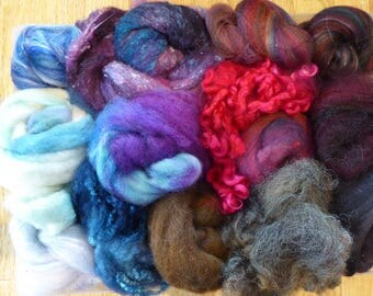 Hope Jacare - Mixed wool pack- custom blended top -  120g hand dyed top and fleece  - MWP24
