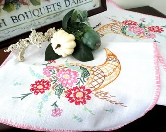 Vintage Table Runner, Dresser Scarf, Hand Embroidered in Shades of Red and Pink, Cottage Decor, Vintage Linens