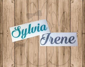 Permanent Vinyl Name Decals-Multiple Size options and Font Choices