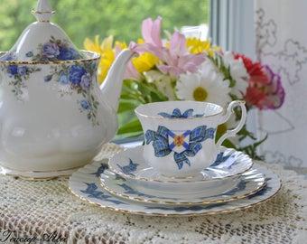 Royal Albert 4 Piece Place Setting Nova Scotia Tartan, Bone China English Tea Cup Set, Replacement China, ca 1962-1970