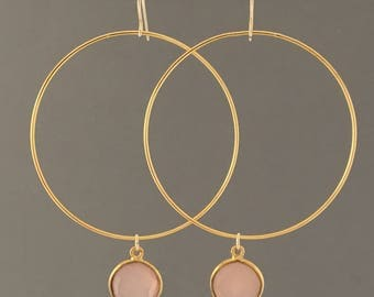 Large Gold Hoop Earrings with Rose Quartz Stone