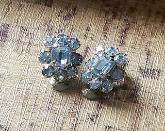 Vintage Blue Rhinestone Clip On Earrings, Sparkling Crystal Pastel Blue Vintage Earrings