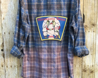 Upcycled Flannel Shirt with Vintage T Shirt Back Art, Men's Medium Slim Fit Cotton Flannel, Beach Distressed Upcycled Flannel, Baseball Fan