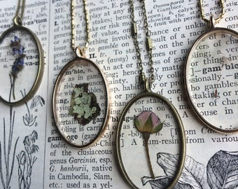 Nature necklaces, real lavender, moss, dandelion seed, rose preserve charm.