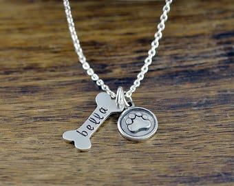 Dog Bone Necklace, Dog Bone Charm, Dog Mom Necklace, Silver Name Necklace, Dog Mom Gift,Dog Paw Necklace,Best Friend Gift, Personalized Gift