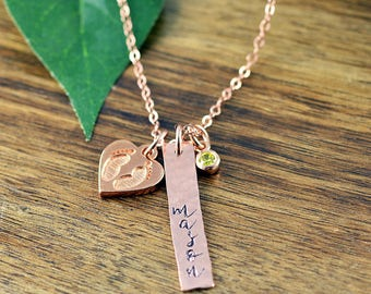 Hand stamped jewelry personalized gifts by luckyhorngifts on etsy rose gold baby name necklace mommy necklace child name baby birth necklace negle Gallery