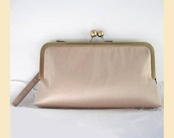 Wedding clutch bag with wristlet in taupe silk, antique brass frame, handmade silk bridal purse with optional personalisation