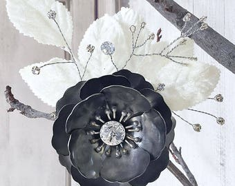 WINTER'S ROSE Steel Mixed Media Fairy Inspired Flower Fascinator, Hair Clip OOAK