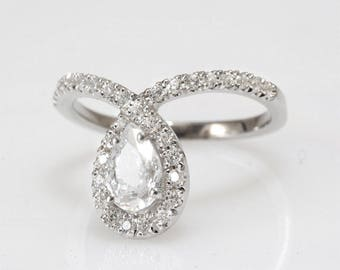 Pear Engagement Ring, Halo Ring, 14K White Gold Ring, 1.10 CT Pear Cut Diamond Ring, Art Deco Ring, Unique Engagement Ring