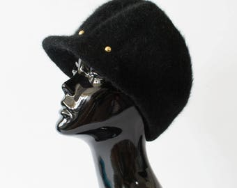 "Vintage Women's Black Felted Angora Wool Peaked Hat Retro XSmall 51cm 20"""