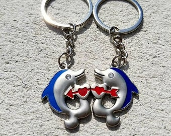 Couples Keychain, Love, Heart, Dolphins, Set, Blue