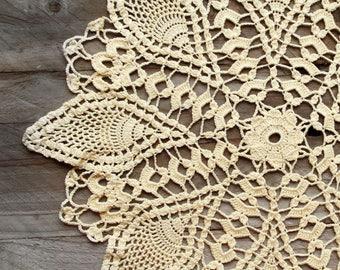 Light Yellow Crochet Doily vintage doily