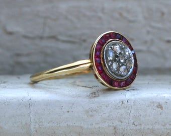 RESERVED - Antique Diamond and Ruby Halo Ring Engagement Ring in 18K Yellow Gold - 1.13ct.