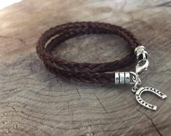 Sterling Silver Horsehair Bracelet, Wraparound Square Braid