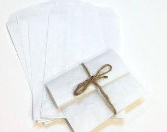 100 Size 5 x 7.5 Inch White Kraft Favor Bags, Candy Buffet Bags, Stampable White Paper Bags