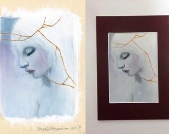 "Original Small oil Painting ""morning haze 2″"